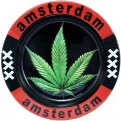 Cendrier en métal rond Amsterdam accessoires le cbd france