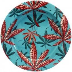 Cendrier en métal rond feuilles de cannabis